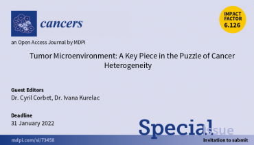 "Call for papers: Special Issue ""Tumor Microenvironment: A Key Piece in the Puzzle of Cancer Heterogeneity"""
